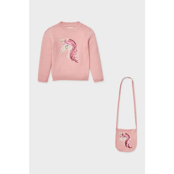 Einhorn - Set - Pullover und Umhängetasche - 2 teilig